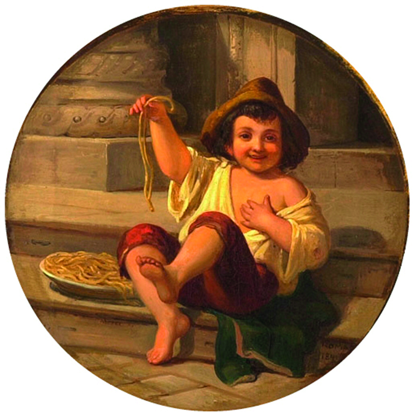 (Julius) Moser (1808) Spaghetti essender Junge, Roma, 19th century - Oil on canvas, 33 × 33 cm